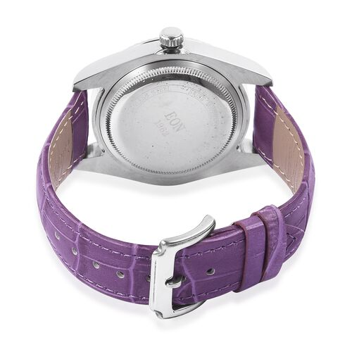 EON 1962 Swiss Movement Sapphire Glass 3ATM Water Resistant Watch in Silver Tone with Purple Colour Genuine Leather Strap