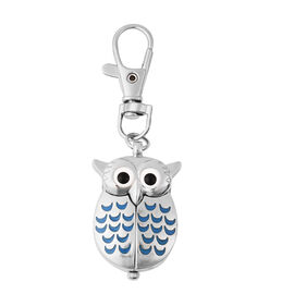STRADA Japanese Movement Water Resistant Owl Shaped Keychain Watch in Silver Tone - Blue