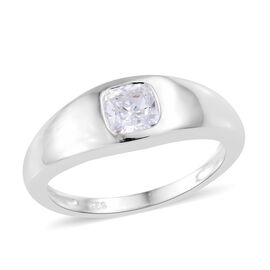 0.75 Ct Made with Swarovski Zirconia Solitaire Band Ring in Sterling Silver