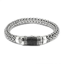 Limited Edition -Designer Inspired Boi Ploi Black Spinel (Rnd) Snake Weave Bracelet (Size 7.5) in Sterling Silver No of Gemstones 75pcs/ Silver wt 45.09 Gms.