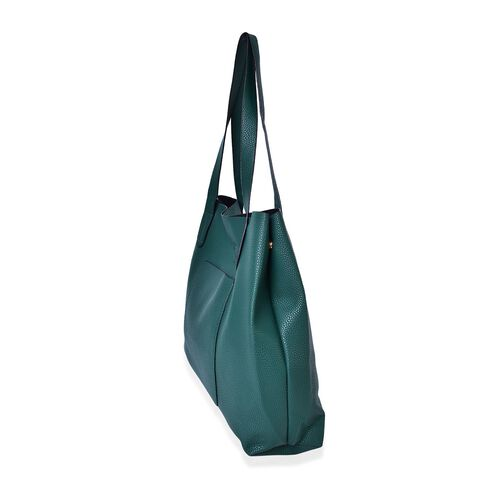 Dark Green Colour Tote Bag with Magnetic Lock and External Pocket (Size 38X31X11 Cm)