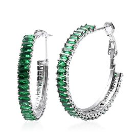 Simulated Emerald Hoop Earrings with Clasp in Silver Plated