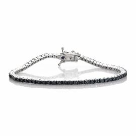 GP 0.35 Ct Blue Diamond and Blue Sapphire Tennis Bracelet in Platinum Plated Silver 7.5 Inch