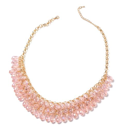 2 Piece Set - Simulated Morganite Necklace and Hook Earrings in Gold Bond.