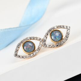 Sundays Child Boulder Opal and Natural Cambodian Zircon Eye Stud Earrings (with Push Back) in 14K Gold Overlay Sterling Silver 2.14 Ct.