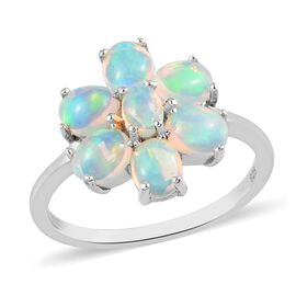 Ethiopian Opal Floral Ring in Platinum Overlay Sterling Silver 0.31 ct  0.900  Ct.