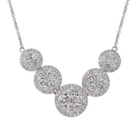 14K White Gold Diamond (Rnd) (I1-I2/G-H) Necklace (Size 17 with Extender) 2.50 Ct, Gold wt 6.50 Gms