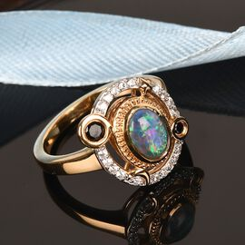 GP Celestial Dream Collection - Boulder Opal, Black Spinel, Natural Combadian Zircon and Multi Gemstone Ring in 14K Gold Overlay Sterling Silver 1.10 Ct