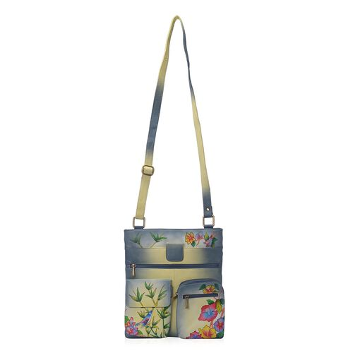 Sukriti - 100% Genuine Leather Grey and Multi Colour Chirpy Bird Handpainted Cross Body Bag with Multi Pockets (Size 32x29 Cm)