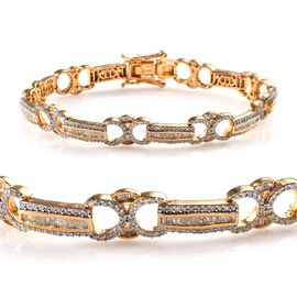 Diamond (Bgt) Bracelet (Size 7.5) in 14K Gold Overlay Sterling Silver   2.50 Ct, Silver wt 13.63 Gms
