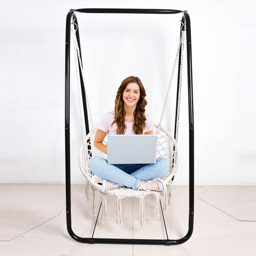 Foldable Leisure Swing Chair (Size 80x80x90cm) - Black and White