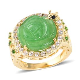 10.22 Ct Green Jade and Multi Gemstone Halo Ring in Gold Plated Sterling Silver 6.32 Grams