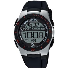 LORUS 100m Water Resistanc Unisex Digital Watch with Silicon Strap - Black and Silver