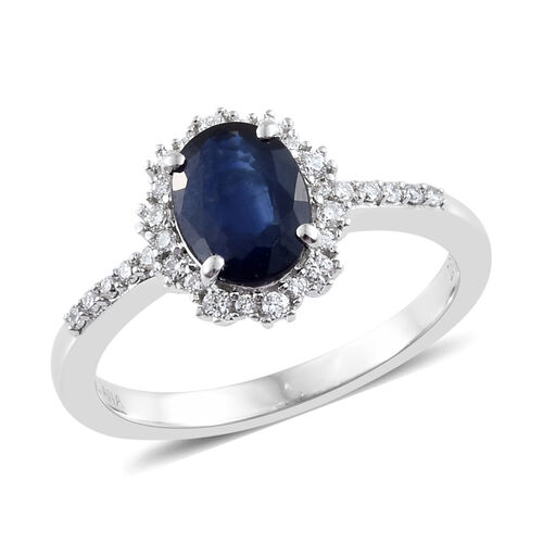 ILIANA 1.75 Ct AAA Kanchanaburi Blue Sapphire and Diamond Halo Ring in 18K White Gold