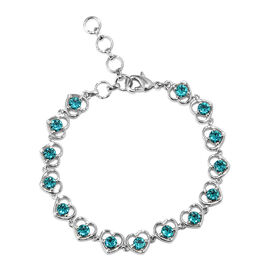 J Francis - Crystal from Swarovski  Blue Zircon Crystal (Rnd) Heart Bracelet (Size 6.5 with 1 inch E