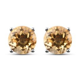 Citrine 2 Stone Push Post Earring in Platinum Overlay Sterling Silver 0.75 ct  0.750  Ct.