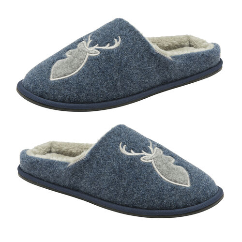 Dunlop Faux Fur Lining Memory Foam Stag Slip On Slippers (Size 11) - Navy