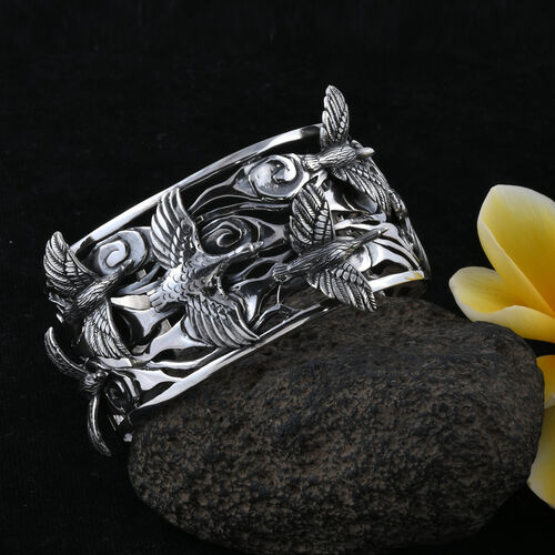 Royal Bali Collection - Sterling Silver Birds Of Paradise Cuff Bangle  Silver wt 74.67 Gms.
