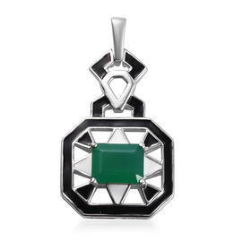 GP Verde Onyx and Blue Sapphire Enamelled Pendant in Platinum Overlay Sterling Silver 2.00  Ct.