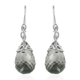 GP 30.1 Ct Green Amethyst and Diopside with Multi Gemstones Drop Earrings in Sterling Silver