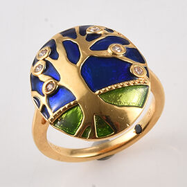 GP - Natural Cambodian Zircon (Rnd), Blue Sapphire Enamelled Tree Ring in 14K Gold Overlay Sterling