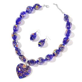 2 Piece Set Blue Colour and Crystal Beaded Necklace and Hook Earrings in Silver Plated 22 with 2.5 i