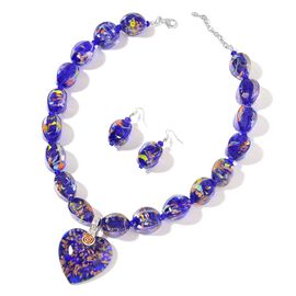 2 Piece Set - Blue Colour Murano Style Glass and White Austrian Crystal Necklace (Size 22 with 2.5 i