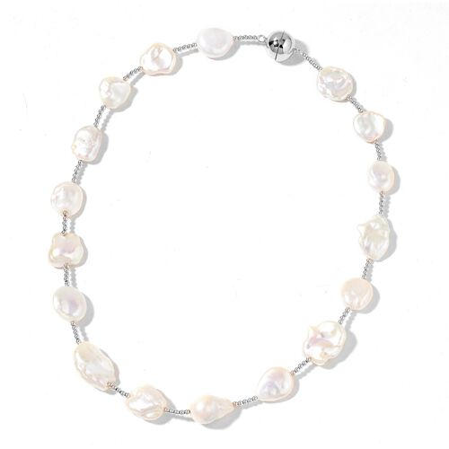 White Baroque Pearl Necklace (Size 20) with Magnetic Clasp in Rhodium Plated Sterling Silver, Silver wt 10.00 Gms.