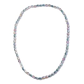 Simulated Mercury Mystic Topaz Barrel Beaded Necklace 20 Inch
