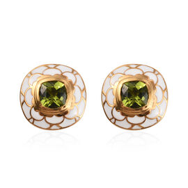 Hebei Peridot Stud Earrings (with Push Back) in 14K Gold Overlay Sterling Silver 3.00 Ct.