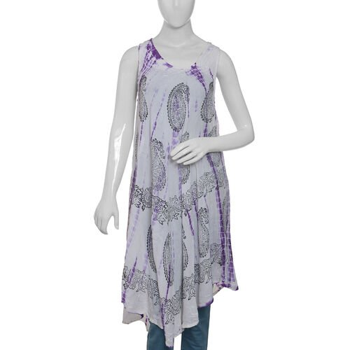 Off White, Purple and Grey Colour Flowers and Leaves Printed Apparel (Free Size)