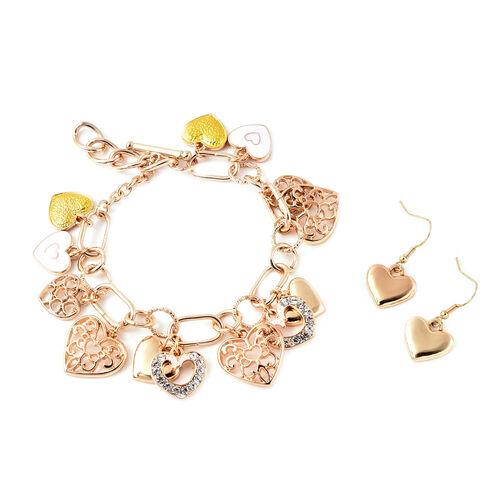 2 Piece Set - White Austrian Crystal Enamelled Heart Charm Bracelet (Size 9) and Hook Earrings in Go