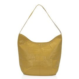 100% Genuine Leather RFID Blocker Croc Embossed Hobo Tote Bag (Size 35x27x15 Cm) - Mustard Colour