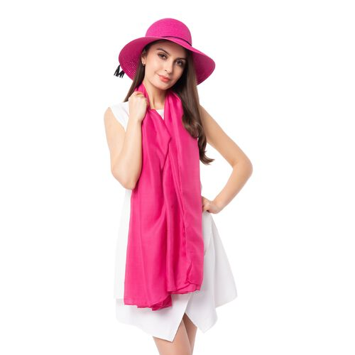 Dark Pink Solid Colour Scarf (Size 180x70 Cm) with Rose Flower Pattern Hat including Tassels with Bowknot (Size 34x14 Cm)