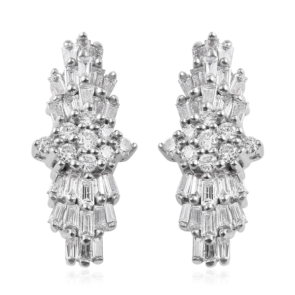 ILIANA 18K White Gold IGI Certified Diamond (Bgt and Rnd) (SI/G-H) Earrings (With Screw Back) 0.500