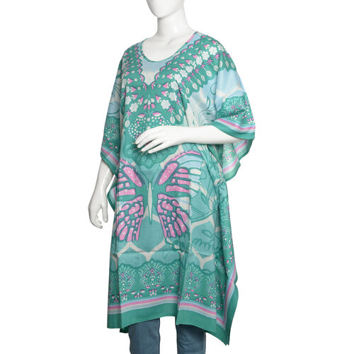 Green, Pink and Multi Colour Butterfly Printed Kaftan (Size 100X70 Cm)
