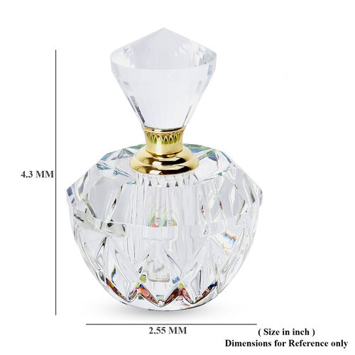 Octagonal Carved Crystal Refillable Perfume Bottle with Colourful Base(Size 10x4.5cm)
