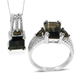Brazilian Smoky Quartz (Oct 5.00 Ct) Ring and Pendant With Chain in Sterling Silver 9.000 Ct.