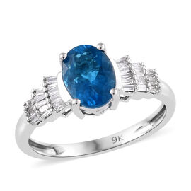 9K White Gold AAA Malgache Neon Apatite (Ovl), Diamond Ring 1.400 Ct.