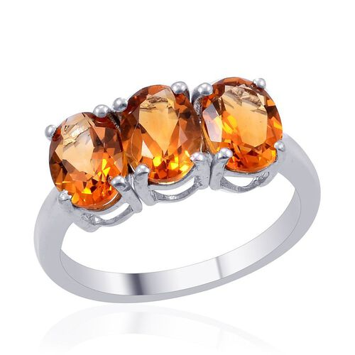 Madeira Citrine (Ovl) Trilogy Ring in Platinum Overlay Sterling Silver 3.250 Ct.