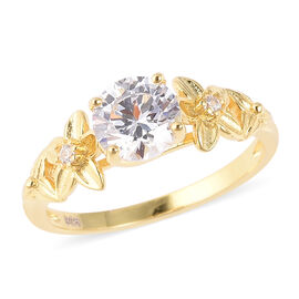 J Francis Made with SWAROVSKI ZIRCONIA Floral Ring in Gold Plated Silver