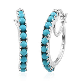 Arizona Sleeping Beauty Turquoise (Rnd) Hoop Earrings (with Clasp Lock) in Platinum Overlay Sterling Silver 1.500 Ct.