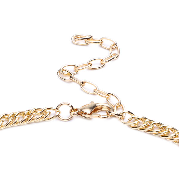 Simulated Mystic White Crystal and Simulated Diamond Necklace (Size 23 with Extender) in Gold Tone