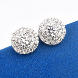 J Francis - Platinum Overlay Sterling Silver Stud Earrings (with Push Back) Made with SWAROVSKI ZIRCONIA 1.68 Ct.
