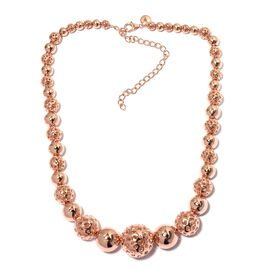 RACHEL GALLEY Rose Gold Overlay Sterling Silver Momento Disc Necklace (Size 16 with 4 inch Extender), Silver wt 80.87 Gms