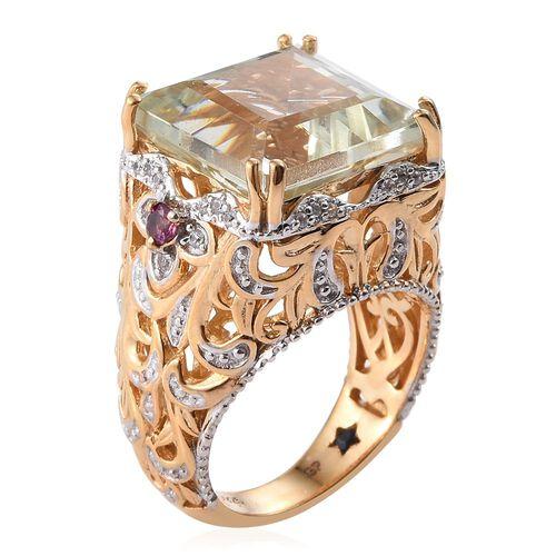 GP Green Amethyst (Sqr), Rhodolite Garnet, Natural Cambodian Zircon and Kanchanaburi Blue Sapphire Ring in 14K Gold Overlay Sterling Silver 13.500 Ct.