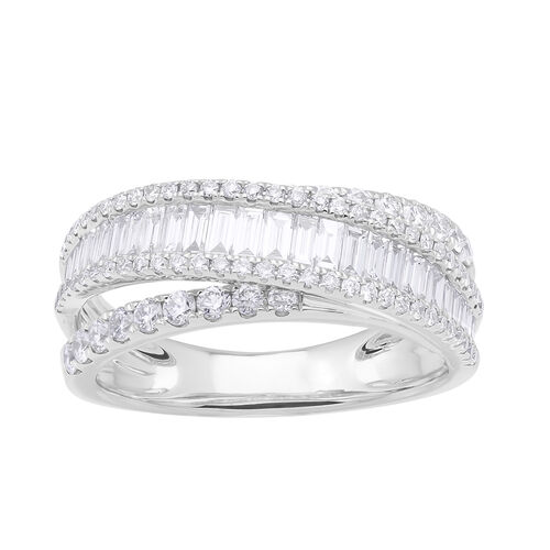 NY Close Out Deal 14K White Gold IGI Certified Diamond (Rnd and Bgt) (I1/H-I) Ring 1.200 Ct.