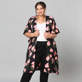 Pink Floral Print Bohemian Look Long Kimono in Black (Size up to 22)