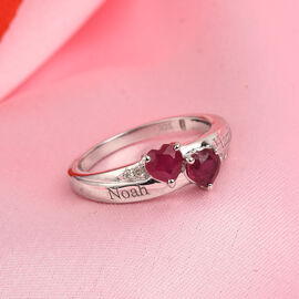 Personalise Engravable Double Heart Ruby Ring in Silver