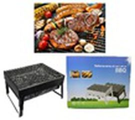 Portable Outdoor Folding BBQ Grill in Black (Size 35x27x20cm)